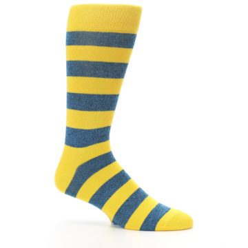 Image of Yellow Blue Stripe Men's Dress Socks (side-1-25)