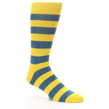 Image of Yellow Blue Stripe Men's Dress Socks (side-1-26)