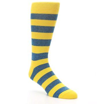 Image of Yellow Blue Stripe Men's Dress Socks (side-1-27)