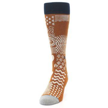 Image of Burnt Orange Multi-Pattern Men's Casual Socks (side-2-front-06)