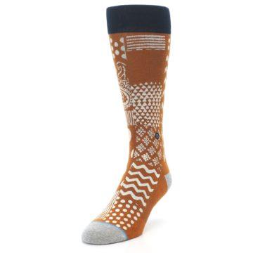 Image of Burnt Orange Multi-Pattern Men's Casual Socks (side-2-front-07)