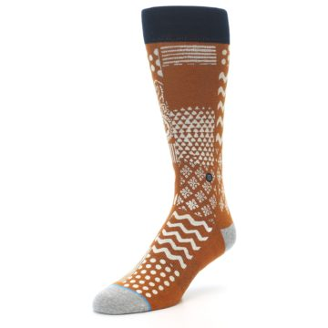 Image of Burnt Orange Multi-Pattern Men's Casual Socks (side-2-front-08)
