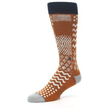 Image of Burnt Orange Multi-Pattern Men's Casual Socks (side-2-09)