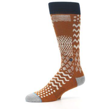 Image of Burnt Orange Multi-Pattern Men's Casual Socks (side-2-10)