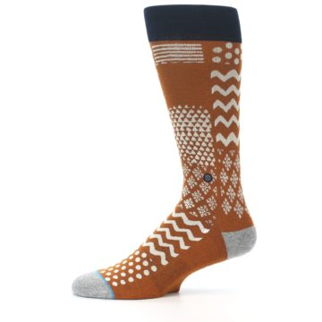 Image of Burnt Orange Multi-Pattern Men's Casual Socks (side-2-11)