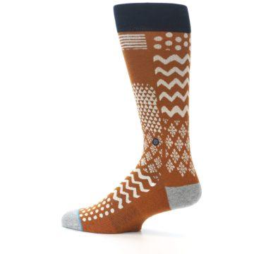 Image of Burnt Orange Multi-Pattern Men's Casual Socks (side-2-13)