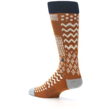 Image of Burnt Orange Multi-Pattern Men's Casual Socks (side-2-back-14)