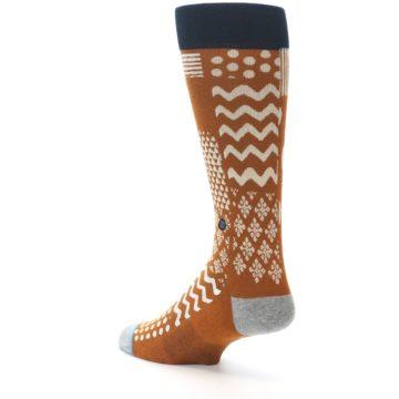 Image of Burnt Orange Multi-Pattern Men's Casual Socks (side-2-back-15)