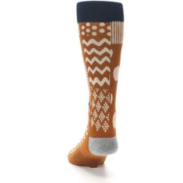 Image of Burnt Orange Multi-Pattern Men's Casual Socks (back-17)