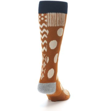 Image of Burnt Orange Multi-Pattern Men's Casual Socks (side-1-back-20)