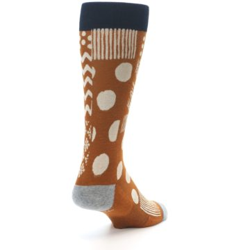 Image of Burnt Orange Multi-Pattern Men's Casual Socks (side-1-back-21)