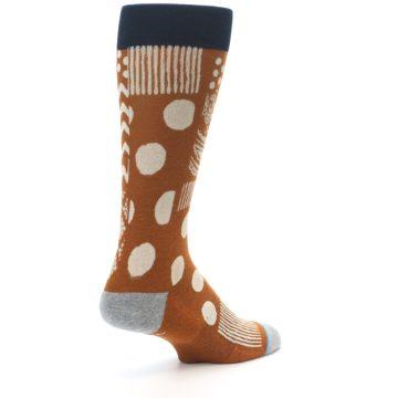 Image of Burnt Orange Multi-Pattern Men's Casual Socks (side-1-back-22)