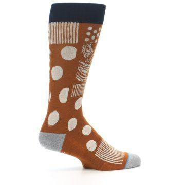 Image of Burnt Orange Multi-Pattern Men's Casual Socks (side-1-24)