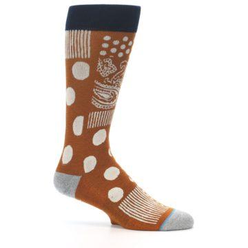 Image of Burnt Orange Multi-Pattern Men's Casual Socks (side-1-25)