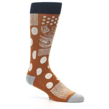 Image of Burnt Orange Multi-Pattern Men's Casual Socks (side-1-26)