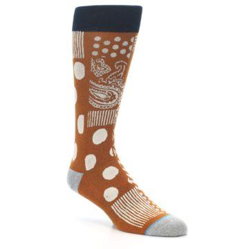Image of Burnt Orange Multi-Pattern Men's Casual Socks (side-1-27)