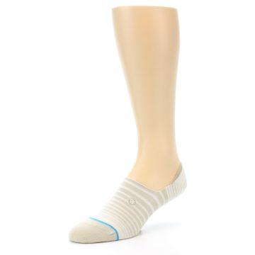 Image of Beige White Stripe Men's No-Show Socks (side-2-front-08)