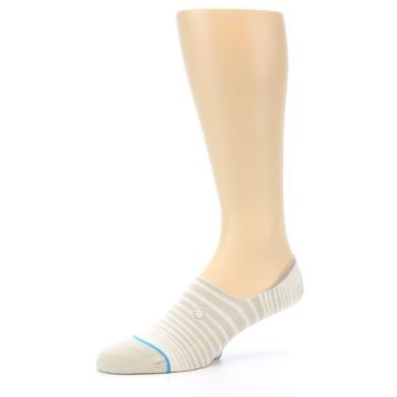 Image of Beige White Stripe Men's No-Show Socks (side-2-09)