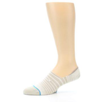 Image of Beige White Stripe Men's No-Show Socks (side-2-10)