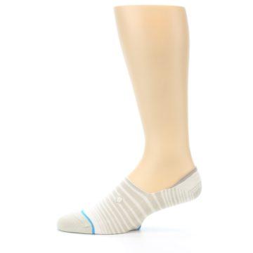 Image of Beige White Stripe Men's No-Show Socks (side-2-11)
