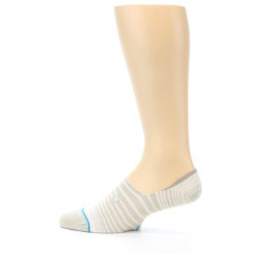 Image of Beige White Stripe Men's No-Show Socks (side-2-12)