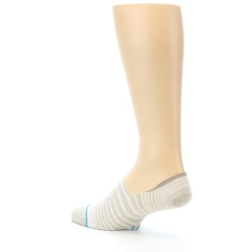 Image of Beige White Stripe Men's No-Show Socks (side-2-back-14)
