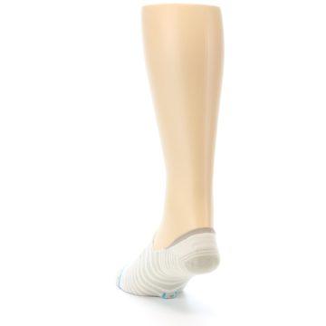 Image of Beige White Stripe Men's No-Show Socks (side-2-back-16)