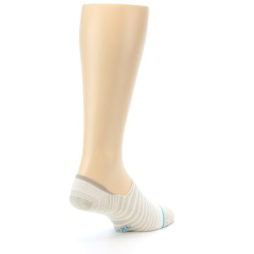 Image of Beige White Stripe Men's No-Show Socks (side-1-back-21)