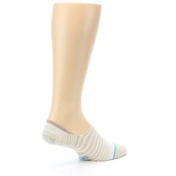 Image of Beige White Stripe Men's No-Show Socks (side-1-back-22)