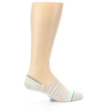 Image of Beige White Stripe Men's No-Show Socks (side-1-23)