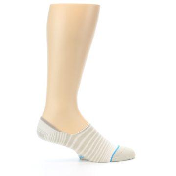 Image of Beige White Stripe Men's No-Show Socks (side-1-24)