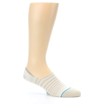 Image of Beige White Stripe Men's No-Show Socks (side-1-25)