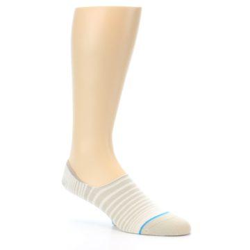Image of Beige White Stripe Men's No-Show Socks (side-1-26)