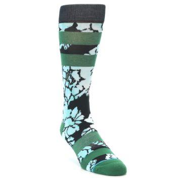 Image of Black Green Floral Men's Casual Socks (side-1-front-02)