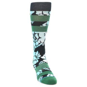 Image of Black Green Floral Men's Casual Socks (side-1-front-03)