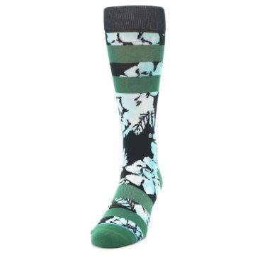 Image of Black Green Floral Men's Casual Socks (side-2-front-06)
