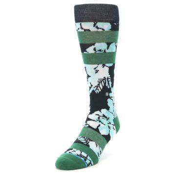 Image of Black Green Floral Men's Casual Socks (side-2-front-07)