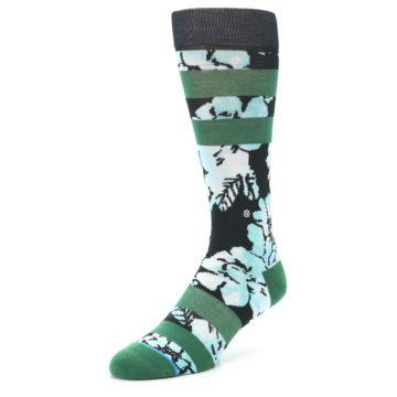 Image of Black Green Floral Men's Casual Socks (side-2-front-08)