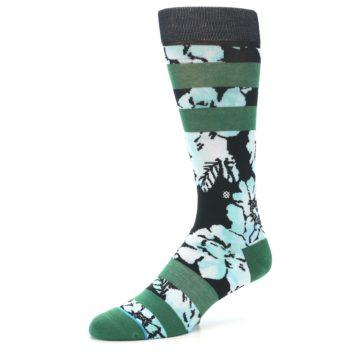 Image of Black Green Floral Men's Casual Socks (side-2-09)