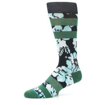 Image of Black Green Floral Men's Casual Socks (side-2-10)