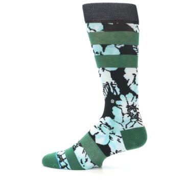 Image of Black Green Floral Men's Casual Socks (side-2-12)