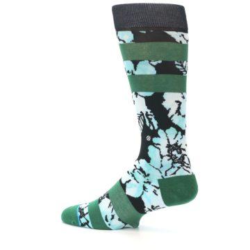 Image of Black Green Floral Men's Casual Socks (side-2-13)