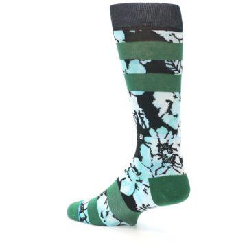 Image of Black Green Floral Men's Casual Socks (side-2-back-14)