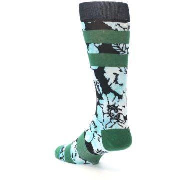 Image of Black Green Floral Men's Casual Socks (side-2-back-15)