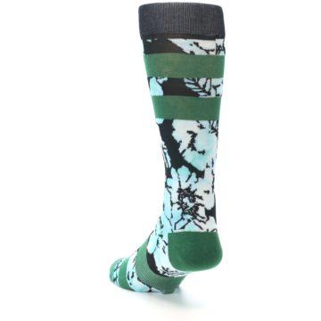 Image of Black Green Floral Men's Casual Socks (side-2-back-16)