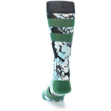 Image of Black Green Floral Men's Casual Socks (back-17)
