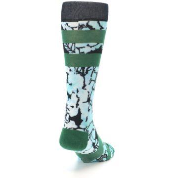 Image of Black Green Floral Men's Casual Socks (side-1-back-20)
