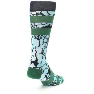 Image of Black Green Floral Men's Casual Socks (side-1-back-21)