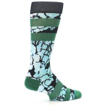 Image of Black Green Floral Men's Casual Socks (side-1-23)