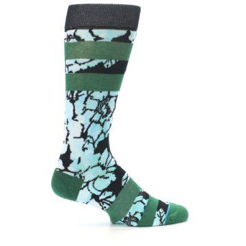 Image of Black Green Floral Men's Casual Socks (side-1-24)